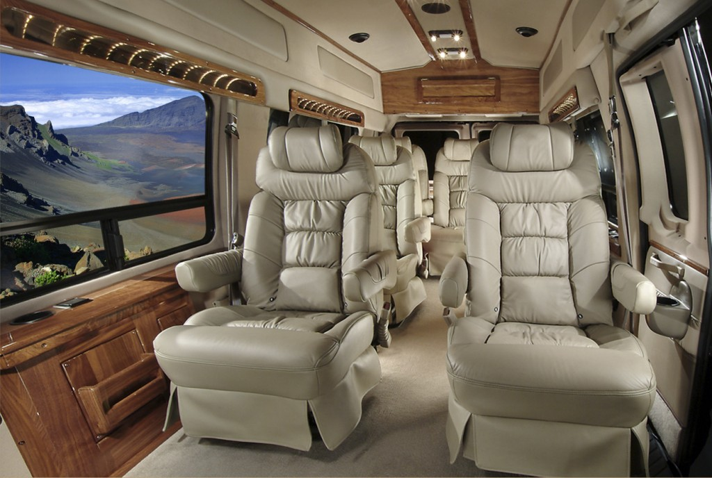 Interior of the Luxury Limo-Van With Breathtaking Haleakala Crater Views Outside the Window
