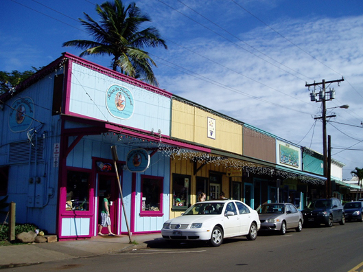 A funky color scheme in Paia takes a fun day of shopping to a whole new level.